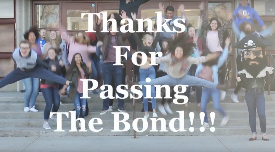 Cyprus High kids jumping on front steps of school with text 'Thanks for Passing the Bond!'