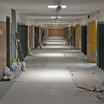 Evergreen hallway during remodeling